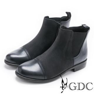 【GDC】美式異材拼接帥氣牛皮低跟短靴-藍色(728915)