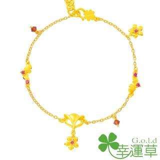 【幸運草金飾】喜緣狐 紅剛玉+黃金 手鍊