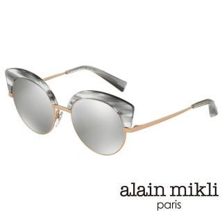 【alain mikli 法式巴黎】捌零復古藝術圓弧上翹貓眼眉框造型太陽眼鏡(大理石灰 AL4007-004)