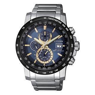 【CITIZEN 星辰】GENT'S 睿智品味電波對時光動能時尚腕錶-藍(AT8124-83M)