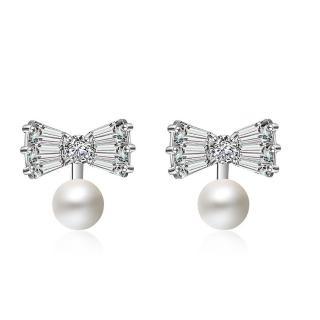 【Quenby】925純銀 甜美質感珍珠耀眼蝴蝶結耳環/耳針(造型/珍珠)