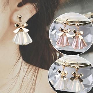 【Quenby】立體金屬蝴蝶結透明水晶流蘇耳環/耳針(造型/蝴蝶結/水晶)