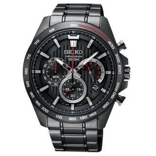 【SEIKO 精工】三眼計時男錶 不鏽鋼錶帶 黑 防水100米 日期顯示(SSB311P1)
