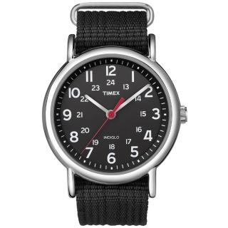 【TIMEX】天美時 Weekender 週末系列復古手錶(黑帆布 TXT2N647)