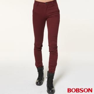 【BOBSON】男款低腰彈性直筒褲(紅1795-13)