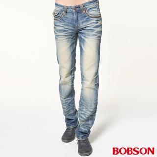 【BOBSON】男款立體貓鬚壓摺直筒褲(藍1747-53)