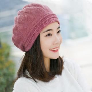 【幸福揚邑】棱紋小顏毛線帽雙層保暖護耳防風兔毛針織貝蕾帽(粉紫)
