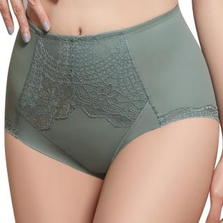 【Swear 思薇爾】挺美力系列M-XXL蕾絲高腰三角修飾褲(倫敦灰)