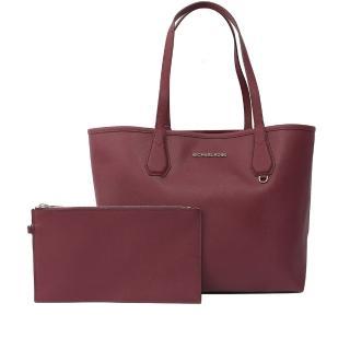 【Michael Kors】防刮皮革拼色購物包/子母包(紫莓/淺粉)