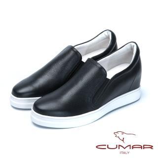 【CUMAR】舒適樂活-嚴選真皮內增高休閒鞋(黑色)