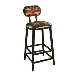 【AT HOME】工業風設計英國國旗高腳吧台椅(40x48x103cm/英國)