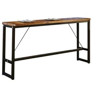【AT HOME】美式格調6.6尺長型實木鐵藝洽談桌/休閒桌/吧台桌/餐桌(200x40x99cm)