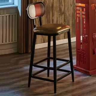 【AT HOME】工業風設計三色條紋高腳吧台椅(40x48x103cm/賽納)