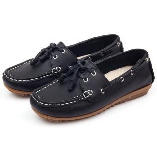 【GMS】MIT情侶鞋系列-水洗牛皮帆船鞋(黑色)