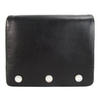 【agnes b.】agnes b.金屬珠飾翻扣短夾(黑)