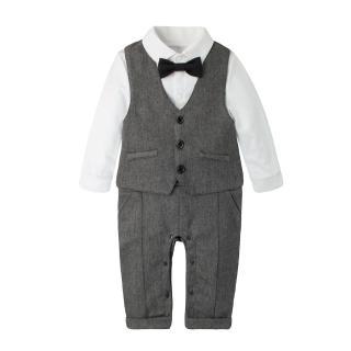 【Baby童衣】任選 吊帶假兩件背心紳士連身衣含帽子 3件套 60309(麻灰)