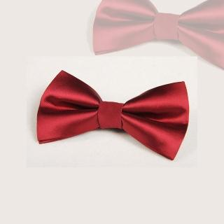 【拉福】純色亮面高質感領結新郎結婚領結糾糾(大紅色)