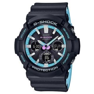 【CASIO 卡西歐】G-SHOCK雙顯男錶 樹脂錶帶 深灰X霓虹藍 太陽能電力 防水200米 世界時間(GAS-100PC-1A)