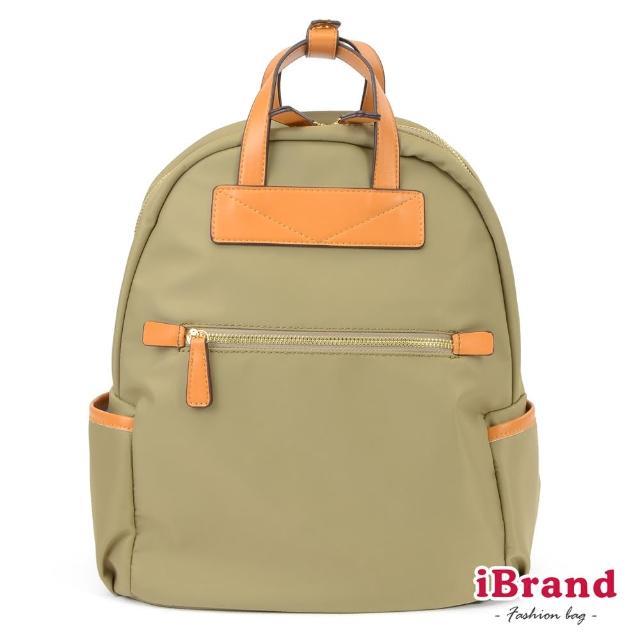 【i Brand】簡約設計撞色皮革手提後背包(淺綠)