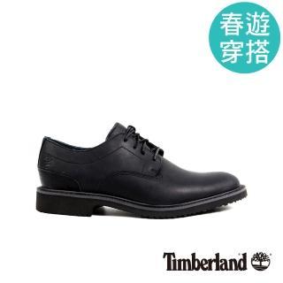 【Timberland】男款黑色粒面皮革淺口鞋