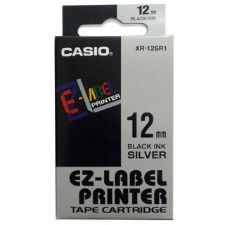【CASIO 卡西歐】標籤機專用色帶-12mm銀底黑字(XR-12SR1)