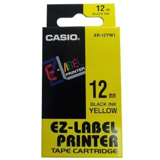 【CASIO 卡西歐】標籤機專用色帶-12mm黃底黑字(XR-12YW1)