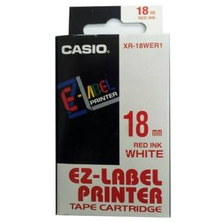 【CASIO 卡西歐】標籤機專用色帶-18mm白底紅字(XR-18WER1)