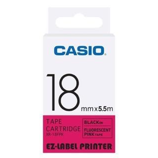 【CASIO 卡西歐】標籤機專用特殊色帶-18mm螢光粉底黑字(XR-18FPK1)