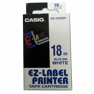【CASIO 卡西歐】標籤機專用色帶-18mm白底藍字(XR-18WEB1)