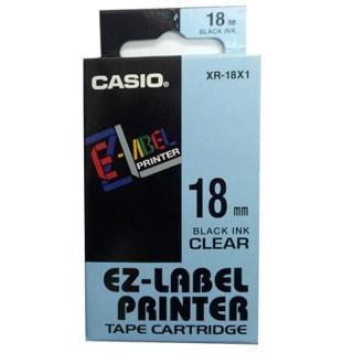 【CASIO 卡西歐】標籤機專用色帶-18mm透明底黑字(XR-18X1)