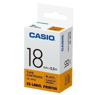 【CASIO 卡西歐】標籤機專用特殊色帶-18mm螢光橘底黑字(XR-18FOE1)