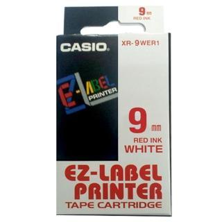 【CASIO 卡西歐】標籤機專用色帶-9mm白底紅字(XR-9WER1)