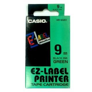 【CASIO 卡西歐】標籤機專用色帶-9mm綠底黑字(XR-9GN1)