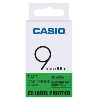 【CASIO 卡西歐】標籤機專用特殊色帶-9mm螢光綠底黑字(XR-9FGN1)