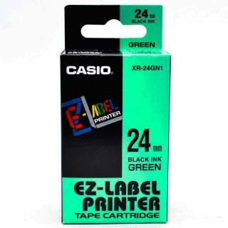 【CASIO 卡西歐】標籤機專用色帶-24mm綠底黑字(XR-24GN1)