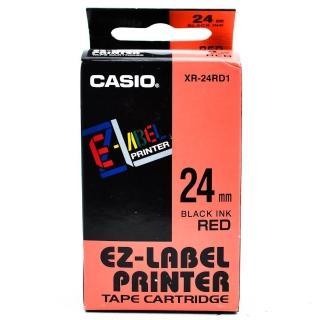 【CASIO 卡西歐】標籤機專用色帶-24mm紅底黑字(XR-24RD1)