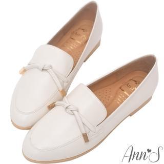 【Ann'S】知性文藝-雙結柔軟綿羊皮紳士平底鞋-版型偏大(米)