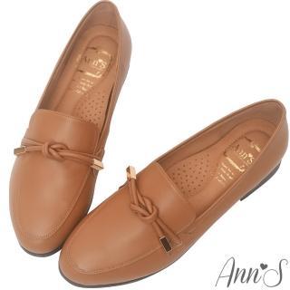 【Ann'S】知性文藝-雙結柔軟綿羊皮紳士平底鞋-版型偏大(棕)