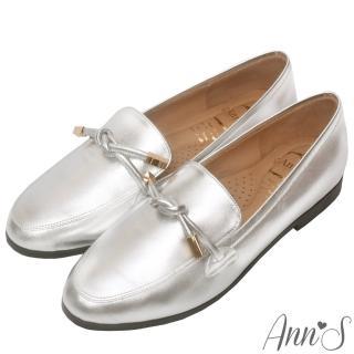 【Ann'S】知性文藝-雙結柔軟綿羊皮紳士平底鞋-版型偏大(銀)