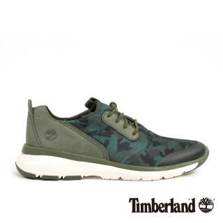 【Timberland】男款深綠色皮革印花淺口鞋