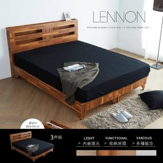 【H&D】藍儂田園鄉村風系列雙人房間組3件式-4色(床頭 床底 床墊 房間組)