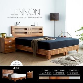 【H&D】藍儂田園鄉村風系列雙人房間組4件式-4色(床頭 床底 床頭櫃 床墊 房間組)