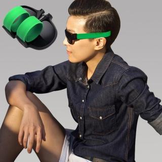 【Seoul Show首爾秀】男女啪啪圈手環太陽眼鏡UV400折疊墨鏡 綠色(防曬遮陽)