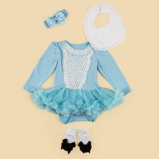 【日安朵朵】女嬰雪紡蓬蓬裙連身衣禮盒–仙杜瑞拉(衣+圍兜+寶寶襪)