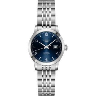 【LONGINES 浪琴】Record 開創者天文台認證矽游絲機械女錶-藍x銀/30mm(L23214966)