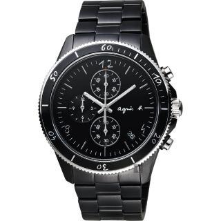【agnes b.】巴黎限定計時手錶-鍍黑/43mm(VK67-KXB0SD  B7A003X1)