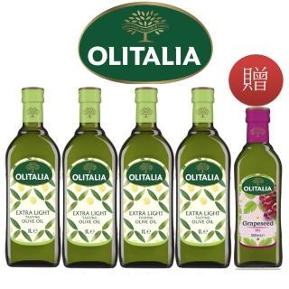 【Olitalia 奧利塔】精緻橄欖油1000mlx4 瓶贈葡萄籽油500mlx1瓶(專案贈送組)