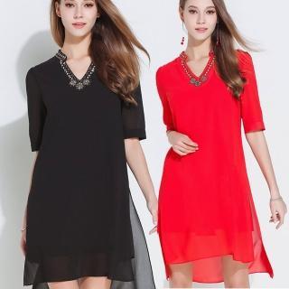 【麗質達人】2690釘珠五分袖雪紡洋裝(M-5XL)
