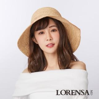 【Lorensa蘿芮】拉菲亞草蝴蝶結手工編織遮陽草帽(10公分帽簷)