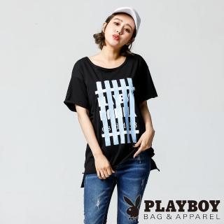 【PLAYBOY】不修邊條紋印花上衣(黑色)